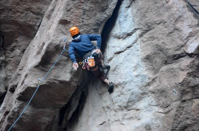 """Escalando en el sector """"La Cañada"""" - Foto: Fran Verde."""